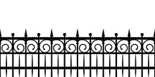 Silhouette Of A Fence. Seamless Horizontal Vector Pattern On White Background.