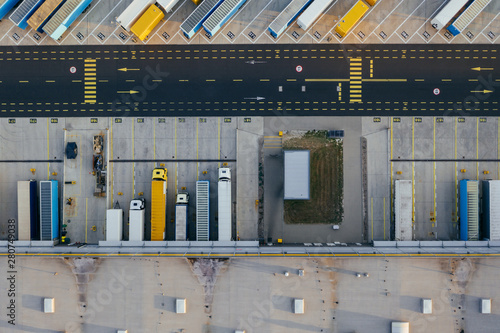 Cuadros en Lienzo  Aerial view of the distribution center, drone photography of the industrial logistic zone