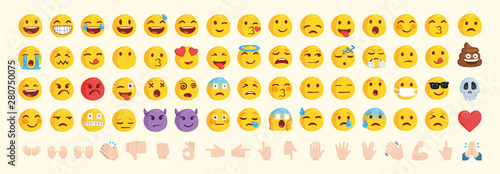 Photo  Vector emoticon set. Emoji pack