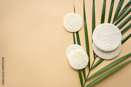 Poster Spa luffa sponges for face care, zero waste concept
