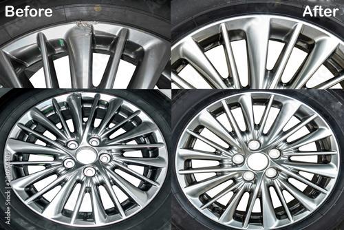 Photo Wheel Hyper color ,Repairing alloy wheels with metal shadows, before repairing a