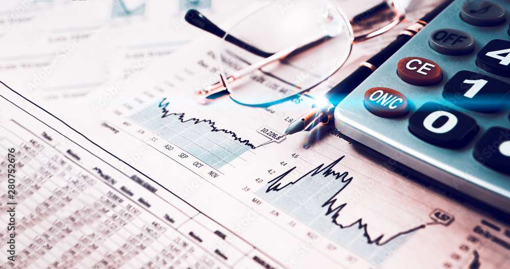 Fototapeta Estadísticas y gráficos de la economía y las finanzas bancarias. Mercado de valores e inversiones para el ahorro. Fondo de negocios y gestión dinero