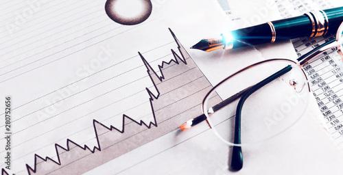 Estadísticas y gráficos de la economía y las finanzas bancarias Wallpaper Mural