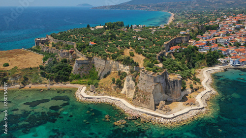 Montage in der Fensternische Südeuropa Aerial drone photo of iconic medieval castle and small picturesque village of Koroni, Messinia, Peloponnese, Greece