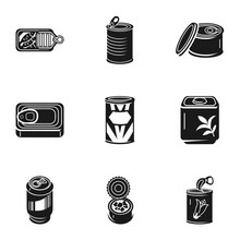 Canned Food Icon Set. Simple S...