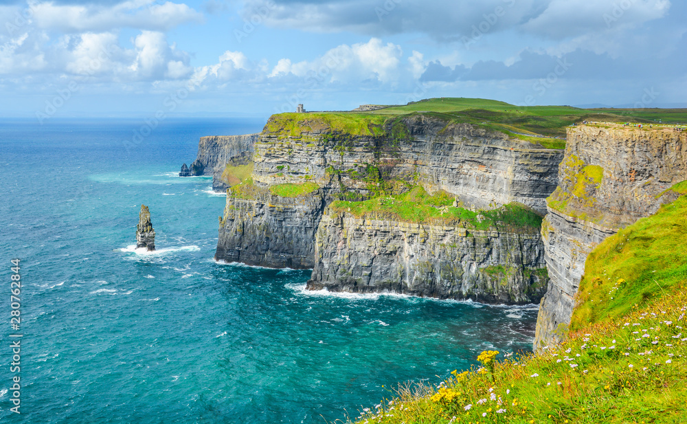 Fototapety, obrazy: Scenic view of Cliffs of Moher, one of the most popular tourist attractions in Ireland, County Clare.