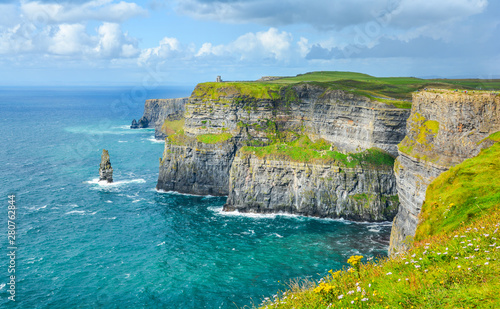 Scenic view of Cliffs of Moher, one of the most popular tourist attractions in Ireland, County Clare Obraz na płótnie