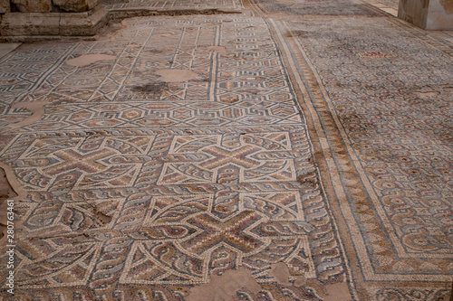 Fotobehang Oude gebouw Turkey: the mosaics on the floor of the south nave of the Church of Laodicea, ancient city on the river Lycus, one of the Seven churches of Asia addressed by name in the Book of Revelation