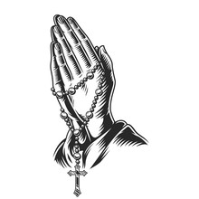 Praying Hands Holding Rosary Beads