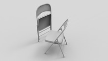 3d Rendering Of Two Folding Chairs Isolated In White Studio Background