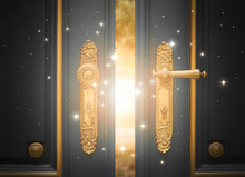 Open Magic Door With Shining Light And Sparkles
