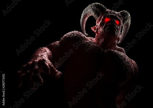 Fototapeta Powerful demon, devil, imp, monster with twisted horns, luminous eyes, muscle hillocks and scary skin