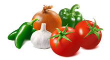 Tomato, Onion, Garlic And Green Hot Chili Pepper Isolated On White Background