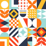 Abstract seamless bauhaus pattern. Vector colorful geometric background.
