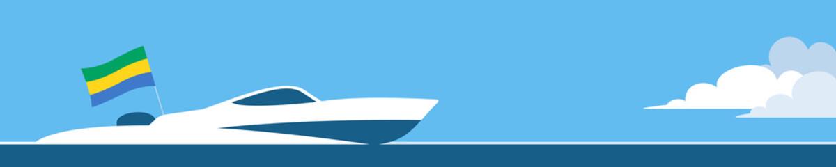 Motor boat with gabonese flag
