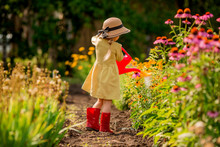 Little Girl In Red Rubber Boots And A Straw Hat Watering Red Watering Flowers In The Garden