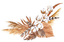 Bouquet With Pampas Grass, Flowers, Feather And Cotton, Watercolor Hand Draw Floral Element In Boho Style, Isolated On White Background