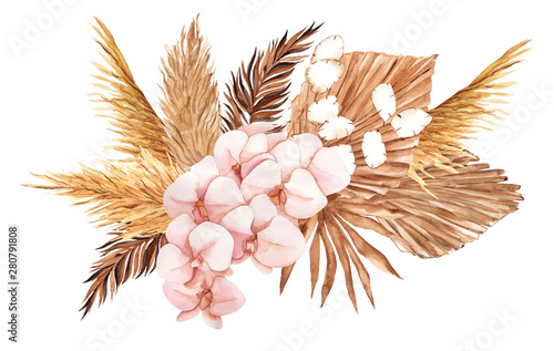 Bouquet with pampas grass, watercolor hand draw floral element in boho style, is Wallpaper Mural