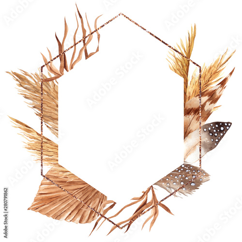 фотография  Frame with watercolor feather, pampas grass, leaves, palm leaf and flowers, hand