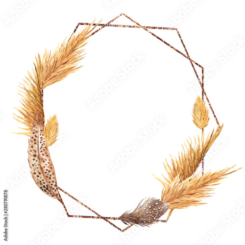 Frame with watercolor feather, pampas grass, leaves, palm leaf and flowers, hand фототапет