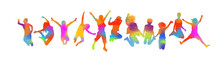Silhouettes Of Jumping Multicolored Friends. Happy Friends Day. Usable As Greeting Cards, Posters, Clothing, T-shirt For Your Friends. Vector Illustration