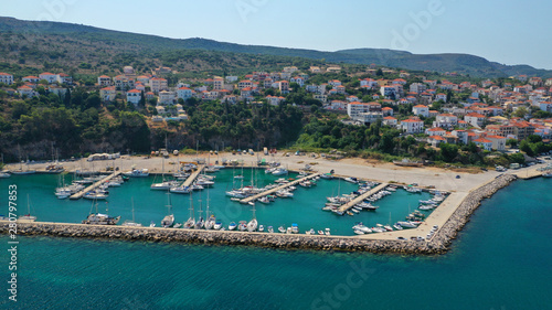 In de dag Schip Aerial drone photo of iconic medieval castle and village of Pylos or Pilos in the heart of Messinia prefecture, Peloponnese, Greece