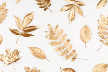 Autumn Composition. Pattern Made Of Autumn Golden Leaves On White Background. Flat Lay, Top View, Copy Space