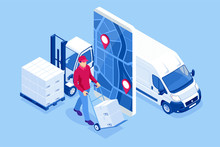 Isometric Online Express, Free, Fast Delivery, Shipping Concept. Checking Delivery Service App On A Mobile Phone. Delivery-truck With Cardboard Box, Mobile Phone Background.