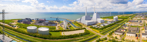 Aerial view of the Power station. One of the most beautiful and stylish power plants in the world. Eco green energy.   - 280810010
