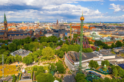 Aerial view of the Tivoli Gardens amusement park with people, visitors, attractions and rides Canvas Print