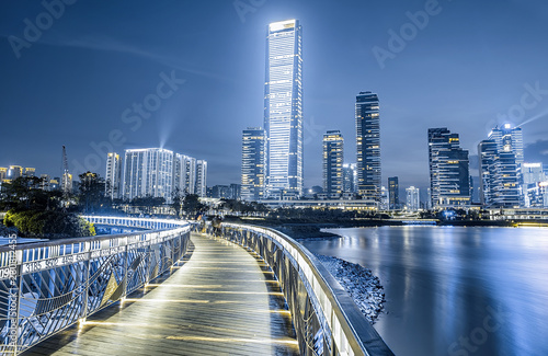 China's Shenzhen Houhai CBD architectural city night scenery