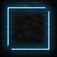 Vector Realistic Isolated Neon Sign Of Blue Square Frame For Template Decoration And Invitation Covering On The Wall Background.