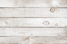 Old Weathered Wooden Plank Painted In White Color. Vintage White Pine Wood Background.