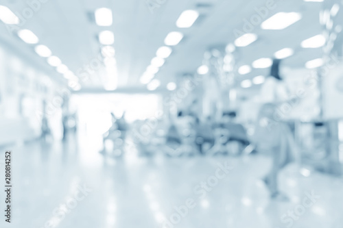 Stampa su Tela  Blurred interior of hospital - abstract medical background.