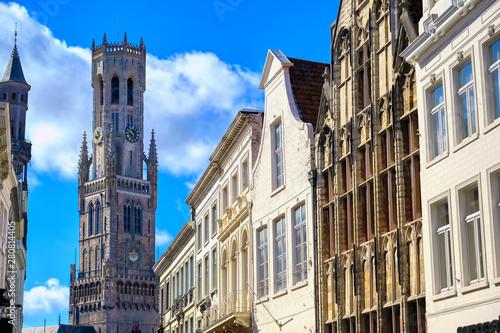 Poster Bridges The Belfry of Bruges located in the Market Square of Bruges (Brugge), Belguim.