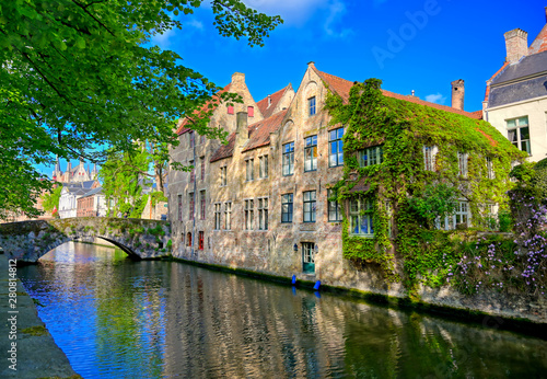 Wall Murals Bridges The canals of Bruges (Brugge), Belgium on a sunny day.