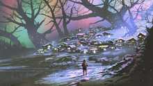 Night Scenery Of Snow Village With Colorful Atmosphere, Digital Art Style, Illustration Painting
