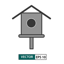 Bird House/ Feeder Icon. Isolated On White. Vector Illustration EPS 10