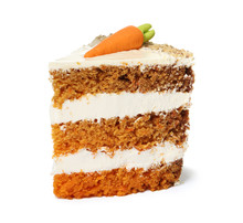 Piece Of Sweet Carrot Cake With Delicious Cream On White Background