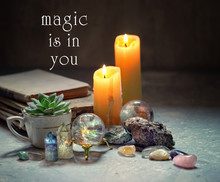 Magic Is In You Text. Crystal Minerals And Candles For Relaxation, Meditation. Magic Rock For Crystal Ritual, Witchcraft, Crystal Layout For Relaxing Chakra, Healing Stones. Soft Focus