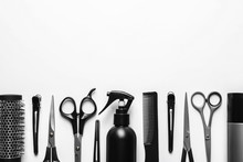 Composition With Scissors And Other Hairdresser's Accessories On White Background, Top View