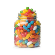 Glass Jar Of Tasty Bright Jelly Beans Isolated On White