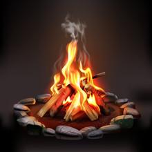 Burning Wood Campfire