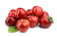 Ripe Juicy Red Apples With Leaves On White Background