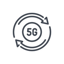 Upgrade To 5G Line Icon. Vector Outline Sign.