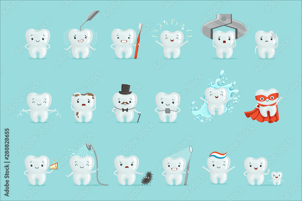 Fototapety, obrazy: Cute teeth with different emotions set for label design. Cartoon detailed Illustrations