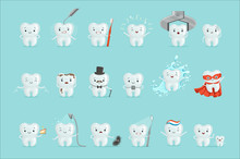Cute Teeth With Different Emot...