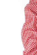 Red Checkered Tablecloth On White Background With Copyspace
