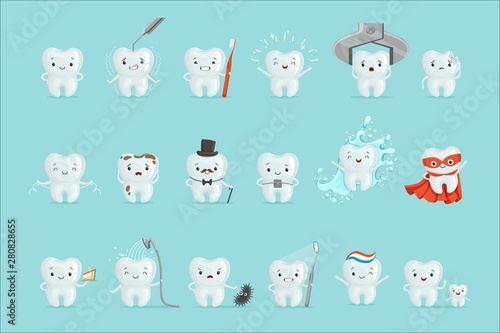 Fototapeta Cute teeth with different emotions set for label design