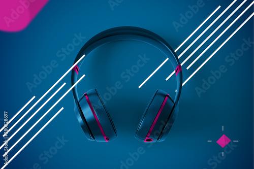 Spoed Foto op Canvas Muziekwinkel Abstract Headphones